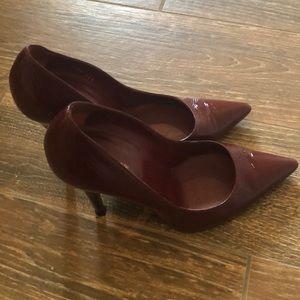 Sergio Rossi burgundy patent leather high heals